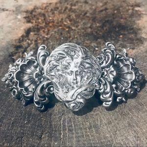 Vintage French Nouveau silver hair barrette/clip